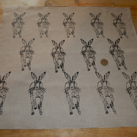 Running Hare - Screen printed Fabric piece 48cm by 54cm