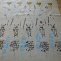 Hare and Wild Flowers - Screen printed Fabric piece 73cm by 68cm