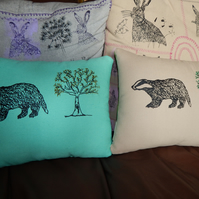 Canvas mint green Badger and tree - Screen printed cushion. 33cm x 26cm