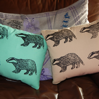 Canvas mint green Badger - Screen printed cushion. 33cm x 26cm