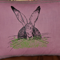 Linen heather - Hare and grass - Screen printed cushion. 33cm x 26cm