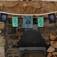 Hare and wild flower screen printed bunting 2 metres