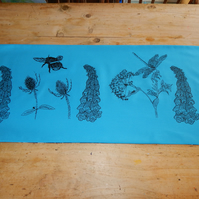 Bee and Dragonfly, wild flowers, screen printed table runner - (111 cm by 40 cm)