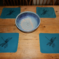 Dragonfly - 4 Screen printed table mats 31 cm by 24 cm