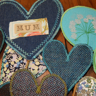 Mum- Fabric hearts on willow