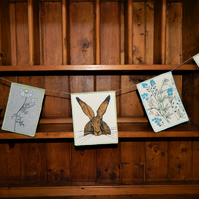 Hare, forget me nots and daisies- Bunting Wall hanging - 82cm