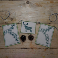 Stag and pine tree - Screen printed wall hanging - bunting