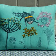 Bee and Wild Flower -  Turquoise Small Screen printed Cushion