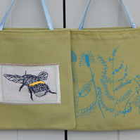 Bumble Bee - Green Canvas Screen printed bag