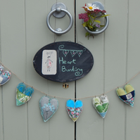 Patchwork heart bunting with Bee and moth - 70cm