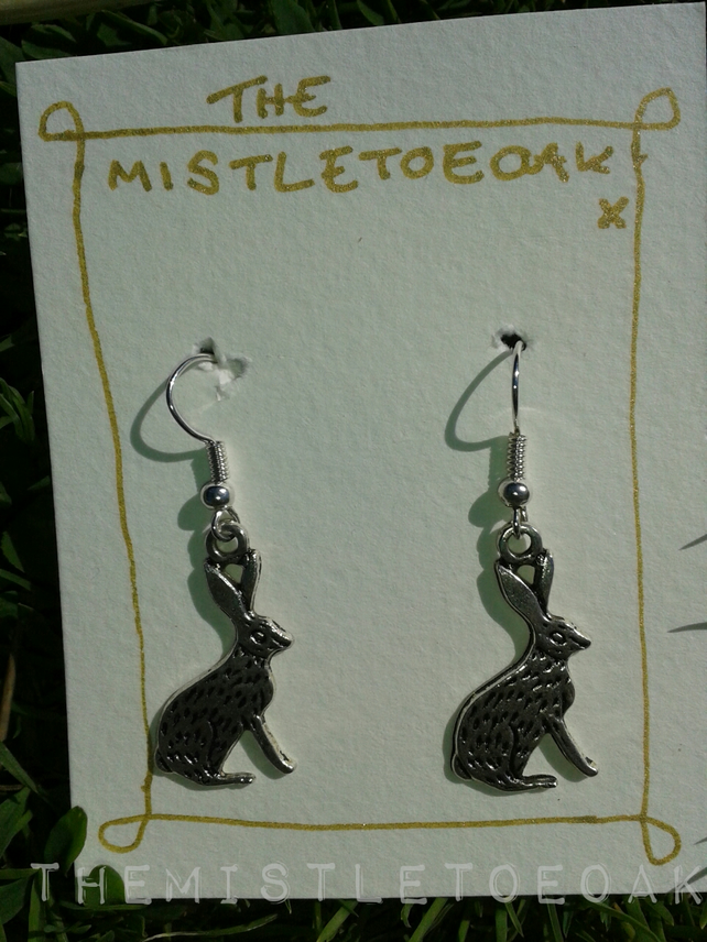 Silver alloy hook wire hare rabbit earrings