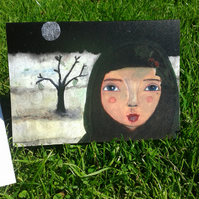 Snow moon tree lady with holly detail greeting card