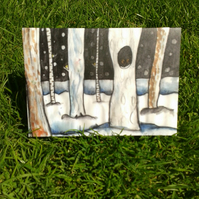 Snow trees with owl watching geeting card