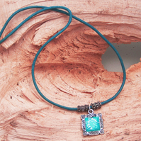 Turquoise and silver square pendant (N14)