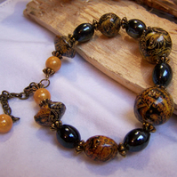 Black and yellow papier-mache bead bracelet (B20)