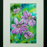 Mixed media original artwork Clematis painting (VA 006)