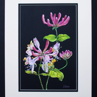 Mixed media original artwork Honeysuckle painting (VA 009)