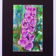 Mixed media original artwork - Foxglove (VA 005)