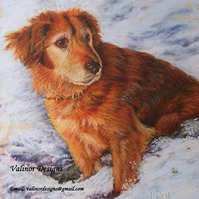"12"" x 16"" Custom pet portrait in pastel (Full body)"