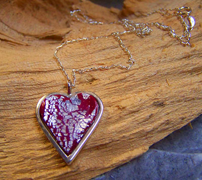 Sterling silver red heart pendant (N 84)