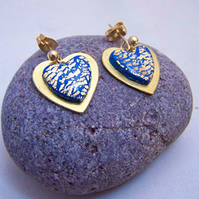 Blue and gold heart earrings (E 80)