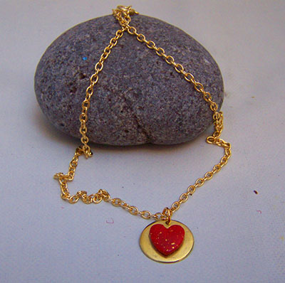 Red and gold heart pendant (N 82)