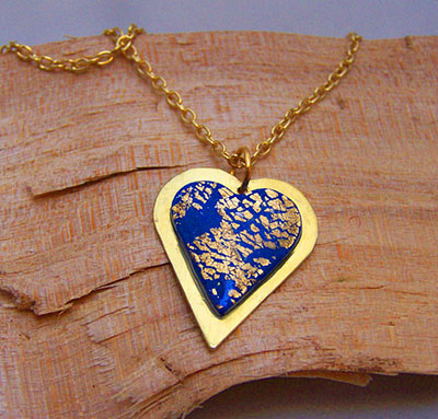 Blue and gold heart pendant (N 81)