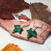 Ivy leaf earrings with silver coils (E 121)