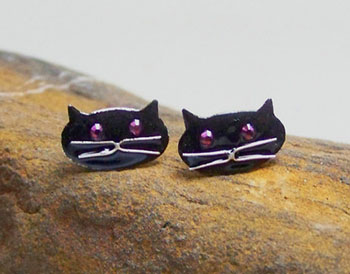 Sterling silver black cat stud earrings (E32)