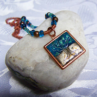Blue and copper square tree pendant (N 58)