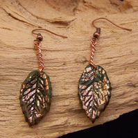 Green and copper leaf earrings (E 52)