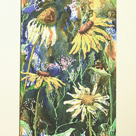 Original mixed media artwork Rudbeckia and Echinacea painting (VA 011)