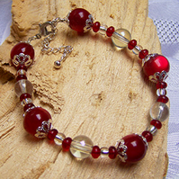 Red and silver bead bracelet (B 25)