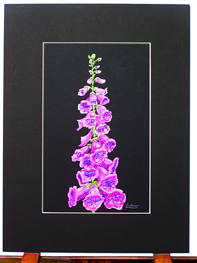 Mixed media original artwork - Foxglove (VA 013)