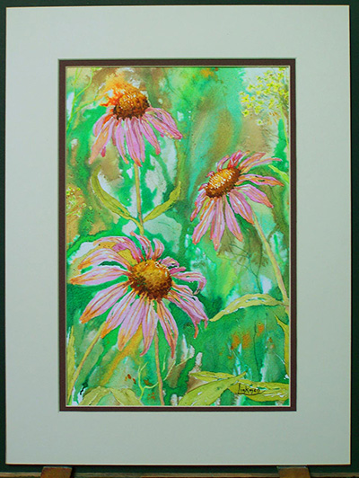 Mixed media original artwork - Purple Echinacea (VA 008)