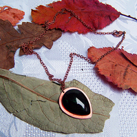 Dark green resin and copper teardrop pendant necklace (N 95)
