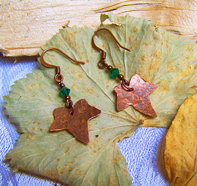 Copper and teal ivy leaf earrings (E 127)