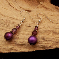 Purple stripey bead drop earrings (E 28)