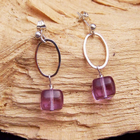 Purple cube drop earrings (E 27)