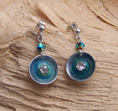 Turquoise and crystal earrings (E 35)