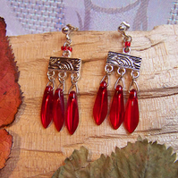 Red lustre dagger earrings (E 13)