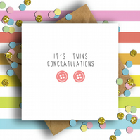 Button Congratulations It's Twins Card (Girls)