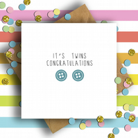 Button Congratulations It's Twins Card (Boys)