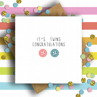 Button Congratulations It's Twins Card (Girl & Boy)