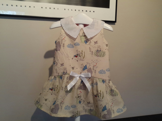 Girls Peter Rabbit dress with gathered skirt and collar with ribbon trim 1 year