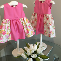 Baby girl dress, vintage roses, Daisy bee, pink baby dress, 6-9 months