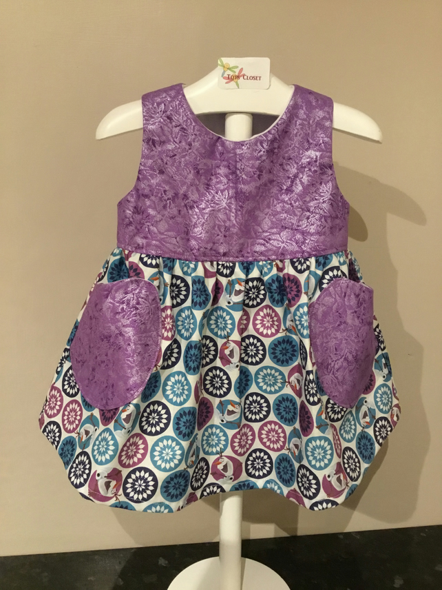 Baby Girl Dress, Frosted purple Olaf dress party dress, sundress, age 6-9 months