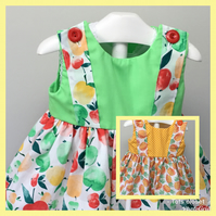 12-18 Months baby girl sundress, Apple dress, Pineapple summer dress