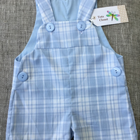 9-12 months, Boys Blue Check Dungarees, summer overall, blue romper,