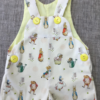 6-12 months Baby dungarees, gender neutral romper, Peter and friends